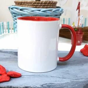 - İçi Ve Sapı Kırmızı Renkli Kupa Bardak