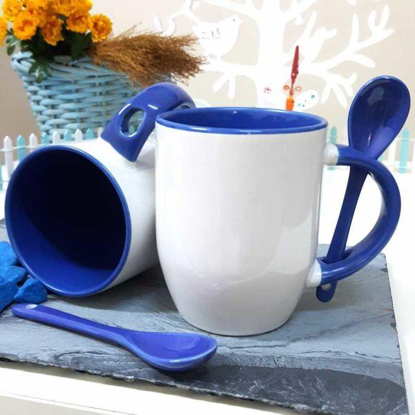 Mavi Kaşıklı Kupa Bardak