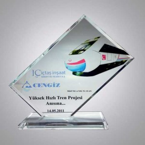 - Kristal Cam Plaket (BEYAZ) Eg-104