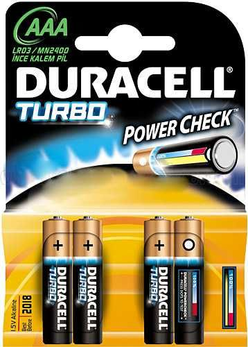 - Duracell AAA Turbo Alkalin İnce Pil 4ad.