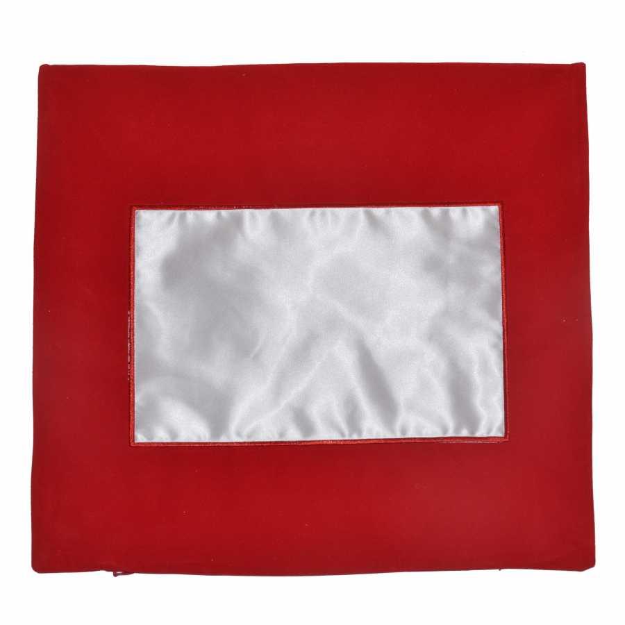 Düz Kırmızı Kare Yastık Kılıfı