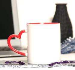 İçi Ve Sapı Kırmızı Kalpli Kupa Bardak - Thumbnail