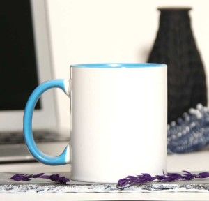 - İçi Ve Sapı Mavi Renkli Kupa Bardak