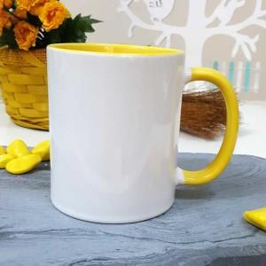 İçi Ve Sapı Sarı Renkli Kupa Bardak - Thumbnail
