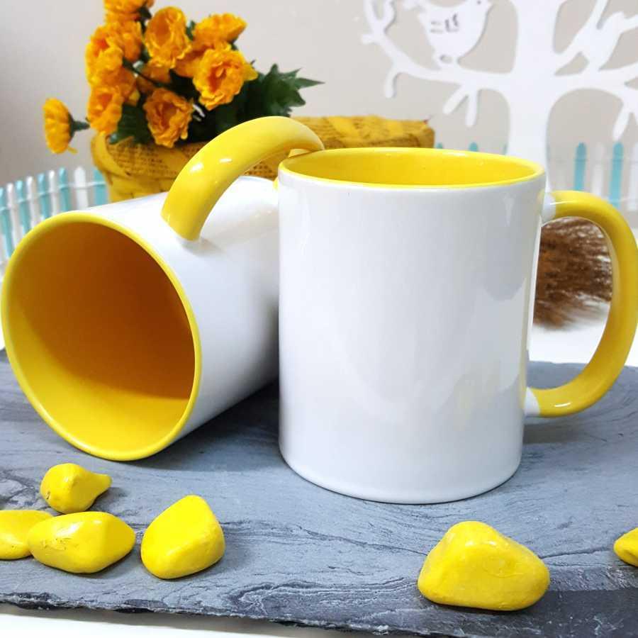 İçi Ve Sapı Sarı Renkli Kupa Bardak