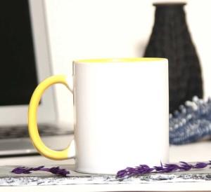 - İçi Ve Sapı Sarı Renkli Kupa Bardak