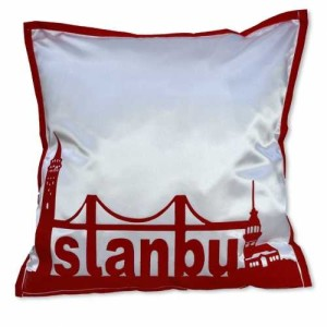 - İstanbul Siluet Kırmızı Yastık Kılıfı