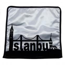 - İstanbul Siluet Siyah Yastık Kılıfı