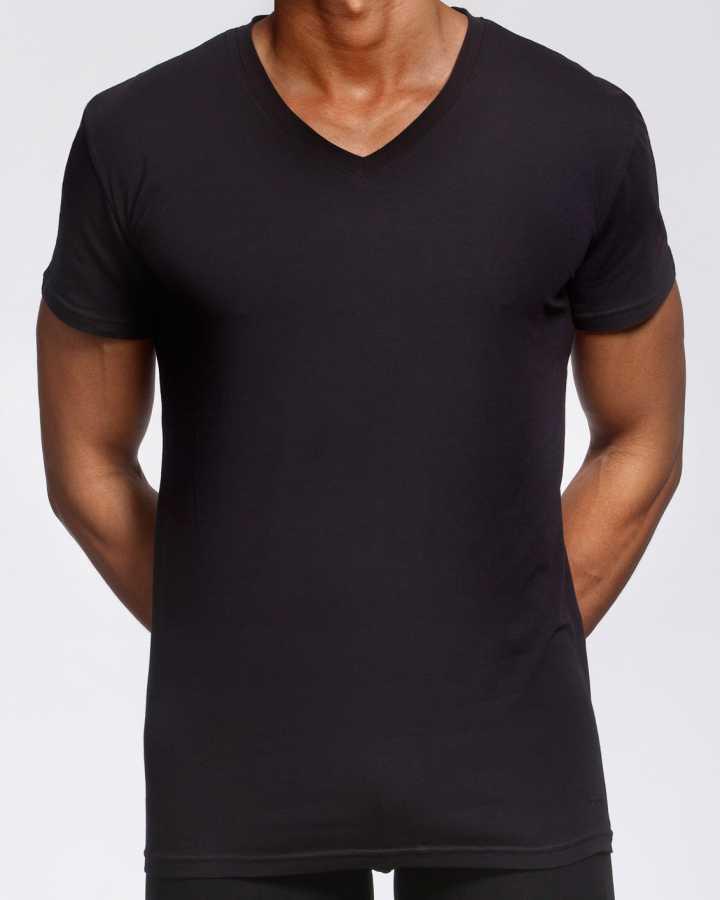 Pamuklu V Yaka Siyah T-shirt (ERKEK) XXL