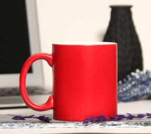 - Porselen Mat Sihirli Kırmızı Kupa Bardak