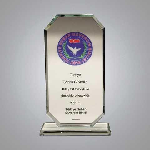 - Kristal Cam Plaket (BEYAZ) Eg-119