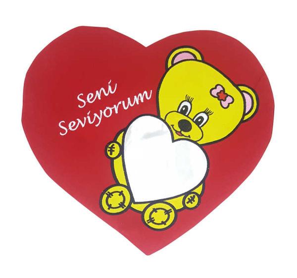 - Sublimasyon Kalp Ayıcık Yastık Sarı