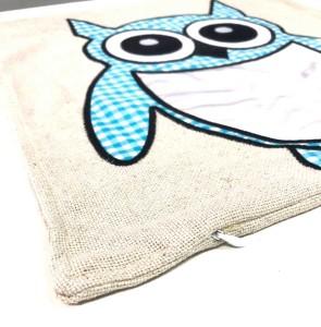 - Sublimasyon Keten Baykuş Yastık Mavi (1)
