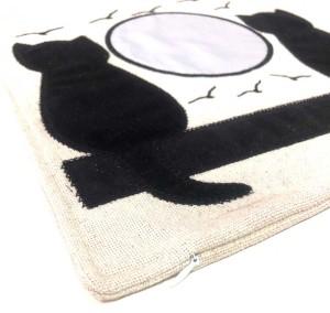 - Sublimasyon Keten Kedili Yastık Kırmızı (1)