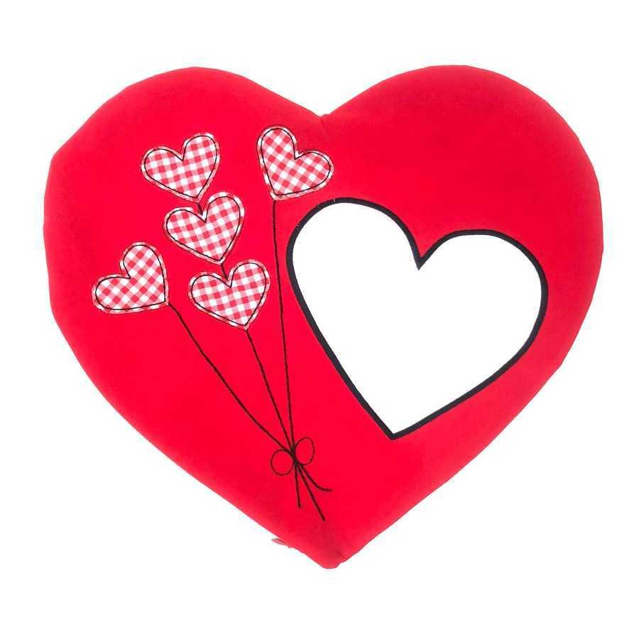 Sublimasyon Kırmızı Balonlu Kalp Yastık