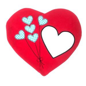 - Sublimasyon Mavi Balonlu Kalp Yastık