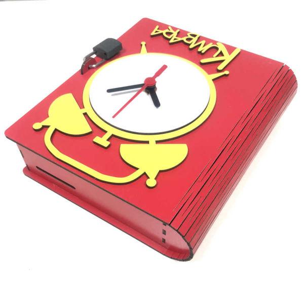 - Sublimasyon Mdf Kumbara Saat Kırmızı (1)