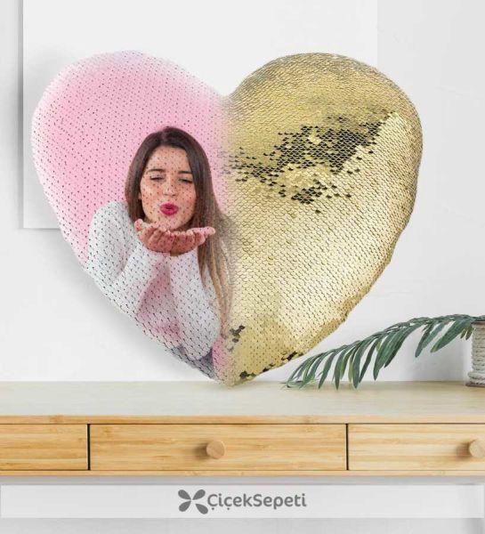 - Sublimasyon Sihirli Yastık Kalp Altın